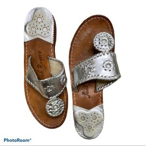 Jack Rogers silver thong sandals